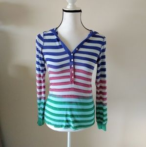 Splendid striped hooded top.